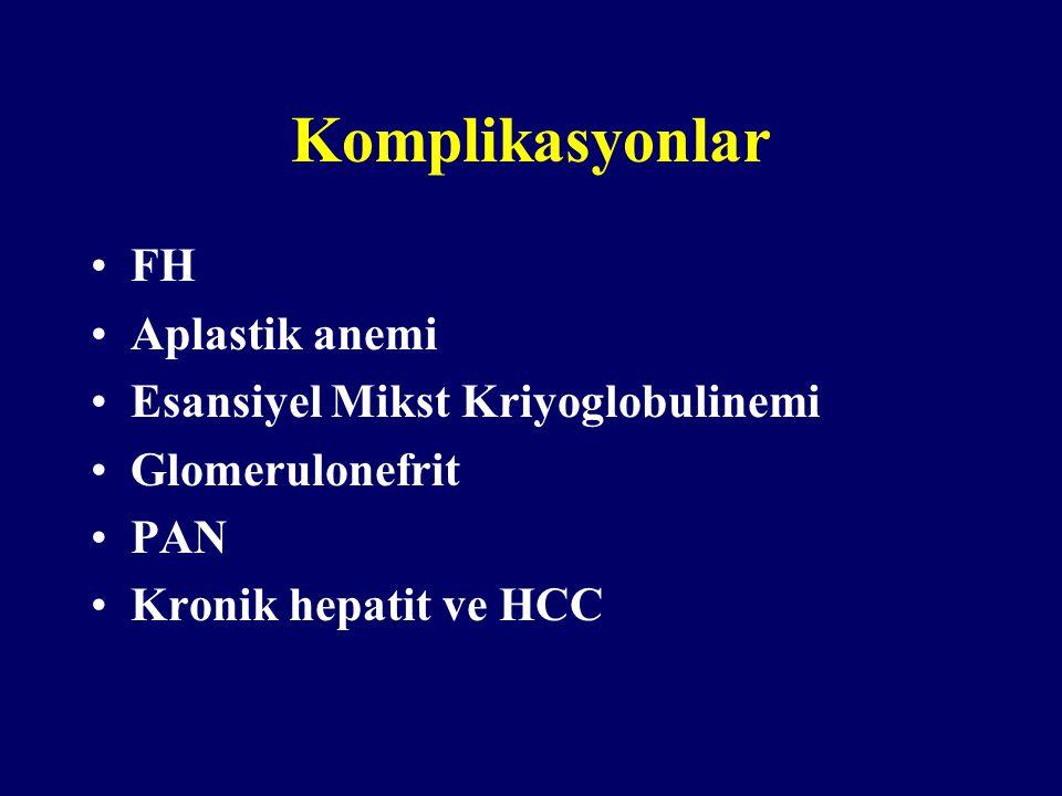 Komplikasyonlar FH Aplastik anemi Esansiyel Mikst Kriyoglobulinemi Glomerulonefrit PAN Kronik hepatit ve HCC