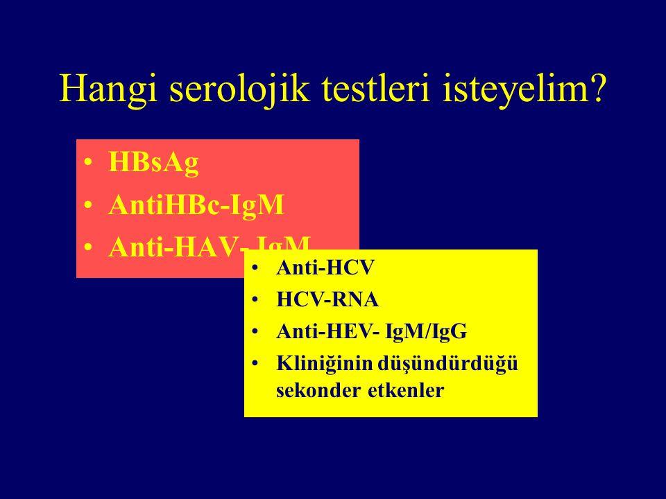 Hangi serolojik testleri isteyelim? HBsAg AntiHBc-IgM Anti-HAV- IgM Anti-HCV HCV-RNA Anti-HEV- IgM/IgG Kliniğinin düşündürdüğü sekonder etkenler