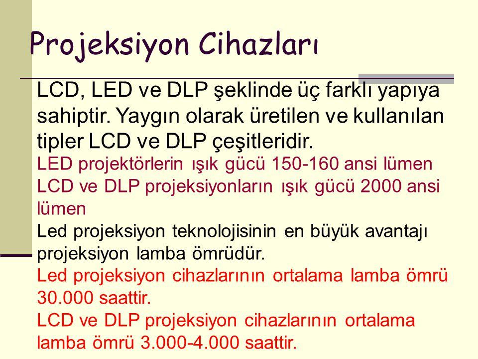 Projeksiyon Cihazları LCD, LED ve DLP şeklinde üç farklı yapıya sahiptir. Yaygın olarak üretilen ve kullanılan tipler LCD ve DLP çeşitleridir. LED pro