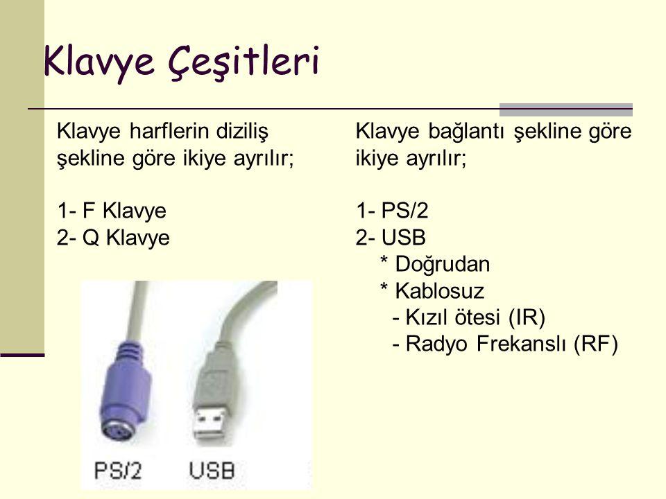 Klavye Çeşitleri Klavye harflerin diziliş şekline göre ikiye ayrılır; 1- F Klavye 2- Q Klavye Klavye bağlantı şekline göre ikiye ayrılır; 1- PS/2 2- U