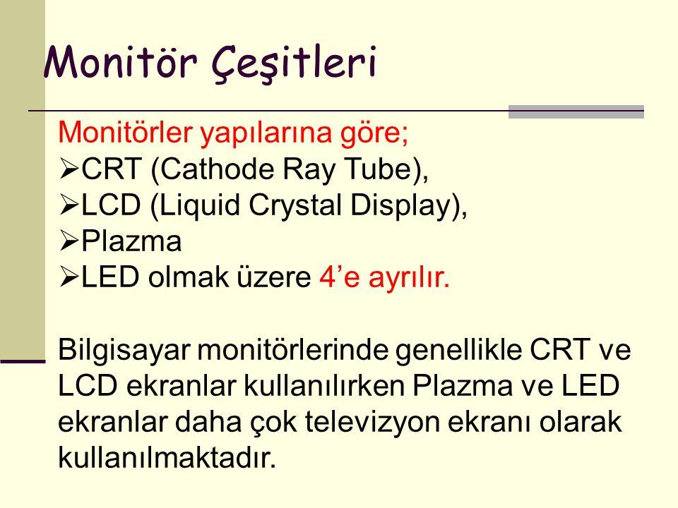 Monitör Çeşitleri Monitörler yapılarına göre;  CRT (Cathode Ray Tube),  LCD (Liquid Crystal Display),  Plazma  LED olmak üzere 4'e ayrılır. Bilgis