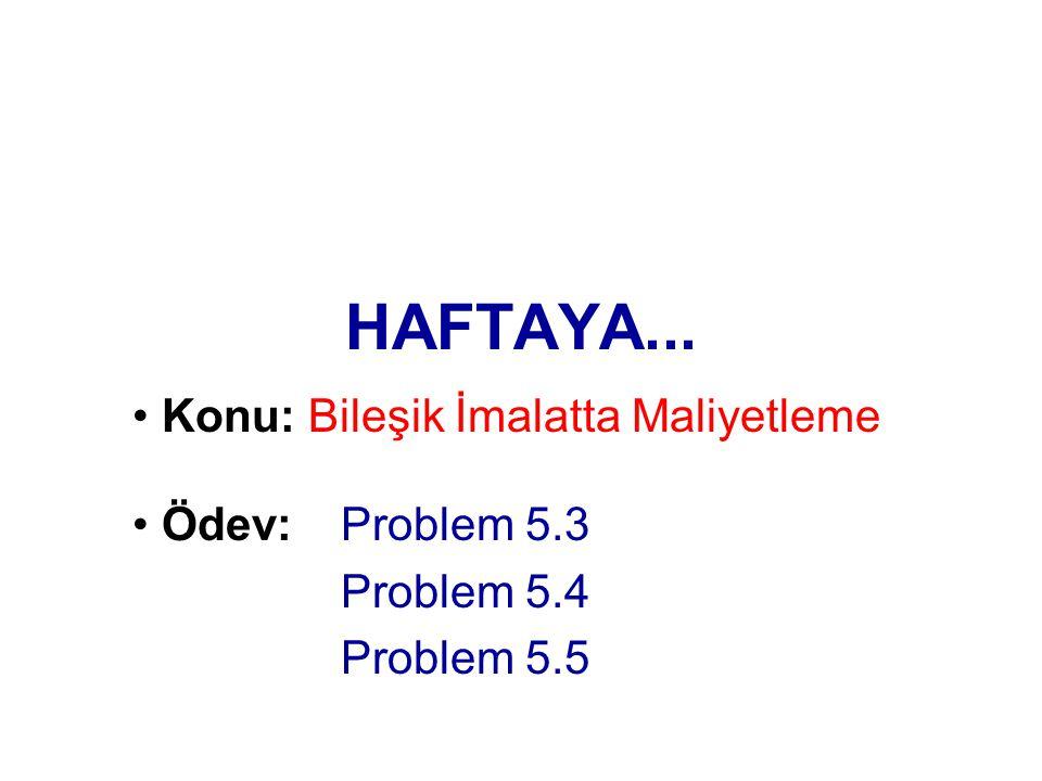 HAFTAYA... Konu: Bileşik İmalatta Maliyetleme Ödev: Problem 5.3 Problem 5.4 Problem 5.5
