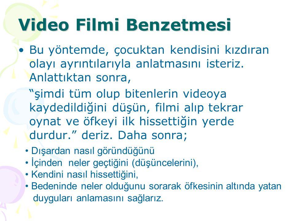 """Video Filmi Benzetmesi Bu yöntemde, çocuktan kendisini kızdıran olayı ayrıntılarıyla anlatmasını isteriz. Anlattıktan sonra, """"şimdi tüm olup bitenleri"""