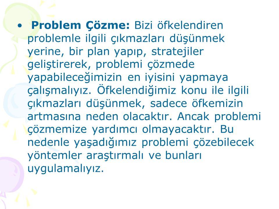 Problem Çözme: Bizi öfkelendiren problemle ilgili çıkmazları düşünmek yerine, bir plan yapıp, stratejiler geliştirerek, problemi çözmede yapabileceğim