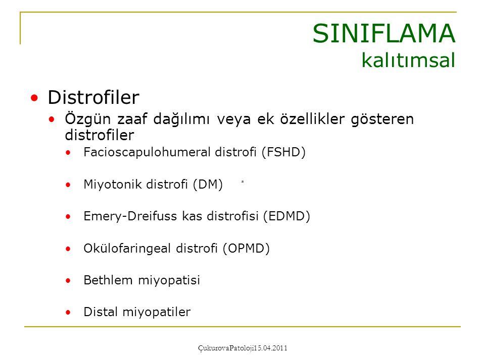 ÇukurovaPatoloji15.04.2011 Non-Distrofik Miyopatiler Metabolik miyopatiler Glikojen depo hastalıkları Lipid depo hastalıkları Mitokondriyal miyopatiler SINIFLAMA kalıtımsal