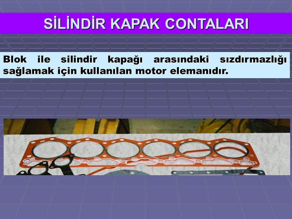 SİLİNDİR KAPAK CONTALARI Blok ile silindir kapağı arasındaki sızdırmazlığı sağlamak için kullanılan motor elemanıdır.
