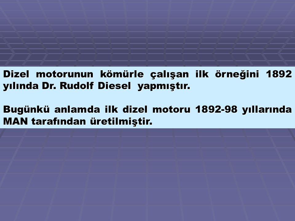 Dizel motorunun kömürle çalışan ilk örneğini 1892 yılında Dr.