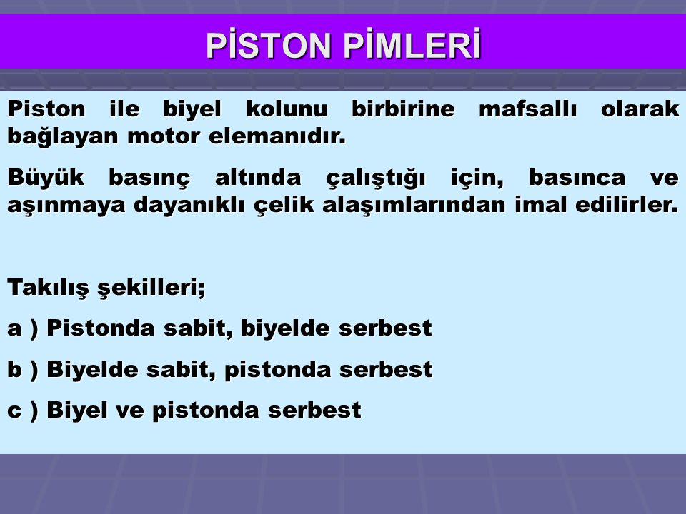 PİSTON PİMLERİ Piston ile biyel kolunu birbirine mafsallı olarak bağlayan motor elemanıdır.