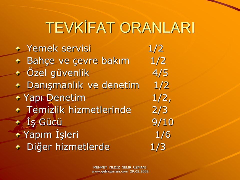 MEHMET YILDIZ GELİR UZMANI www.geliruzmani.com 29.05.2009 TEVKİFAT ORANLARI Yemek servisi 1/2 Yemek servisi 1/2 Bahçe ve çevre bakım 1/2 Bahçe ve çevr