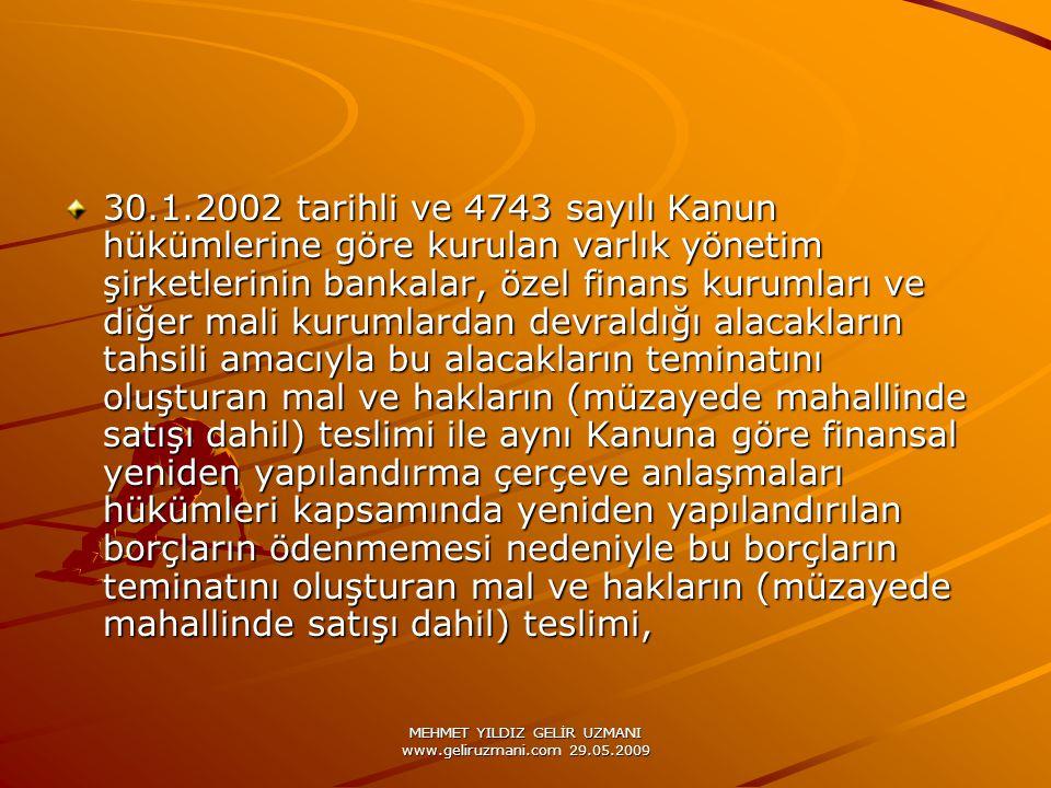 MEHMET YILDIZ GELİR UZMANI www.geliruzmani.com 29.05.2009 30.1.2002 tarihli ve 4743 sayılı Kanun hükümlerine göre kurulan varlık yönetim şirketlerinin
