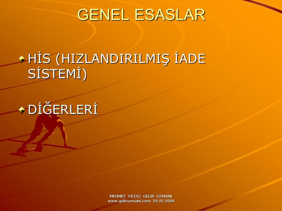 MEHMET YILDIZ GELİR UZMANI www.geliruzmani.com 29.05.2009 GENEL ESASLAR HİS (HIZLANDIRILMIŞ İADE SİSTEMİ) DİĞERLERİ