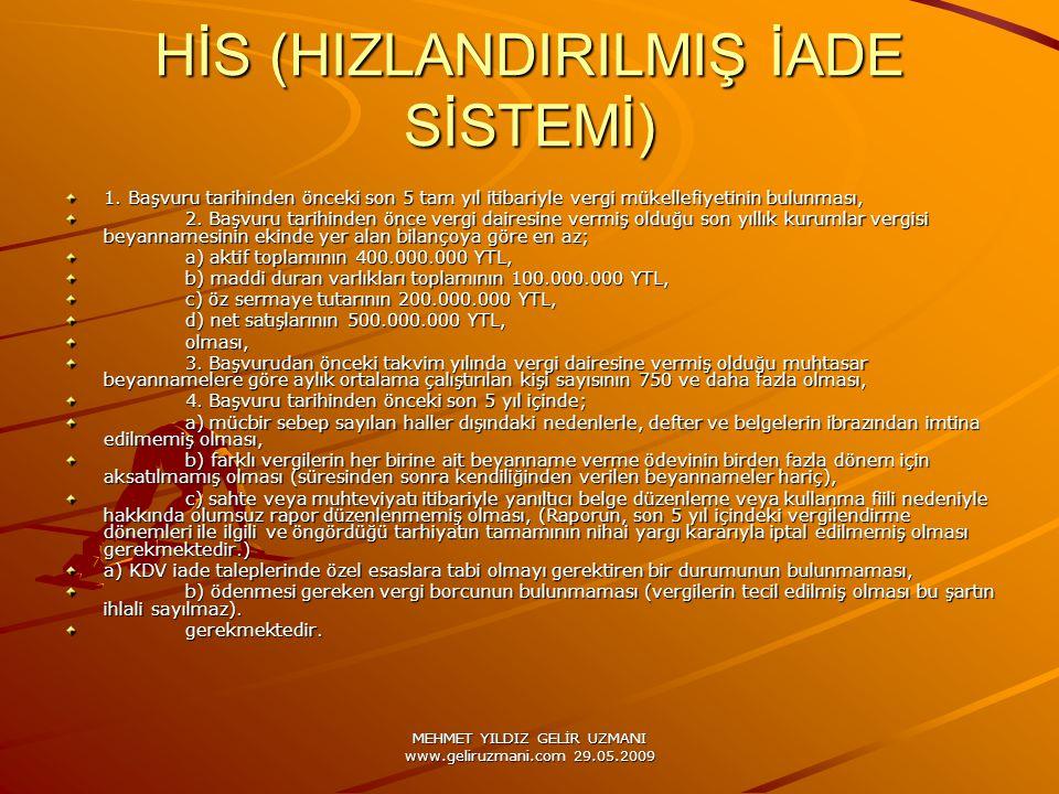 MEHMET YILDIZ GELİR UZMANI www.geliruzmani.com 29.05.2009 HİS (HIZLANDIRILMIŞ İADE SİSTEMİ) 1.
