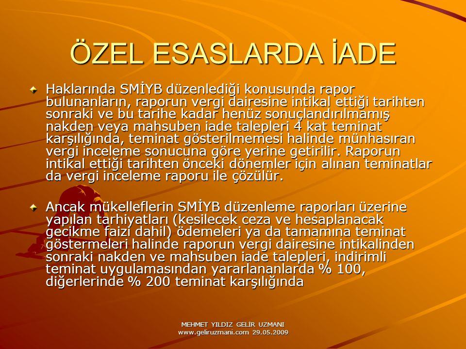 MEHMET YILDIZ GELİR UZMANI www.geliruzmani.com 29.05.2009 ÖZEL ESASLARDA İADE Haklarında SMİYB düzenlediği konusunda rapor bulunanların, raporun vergi