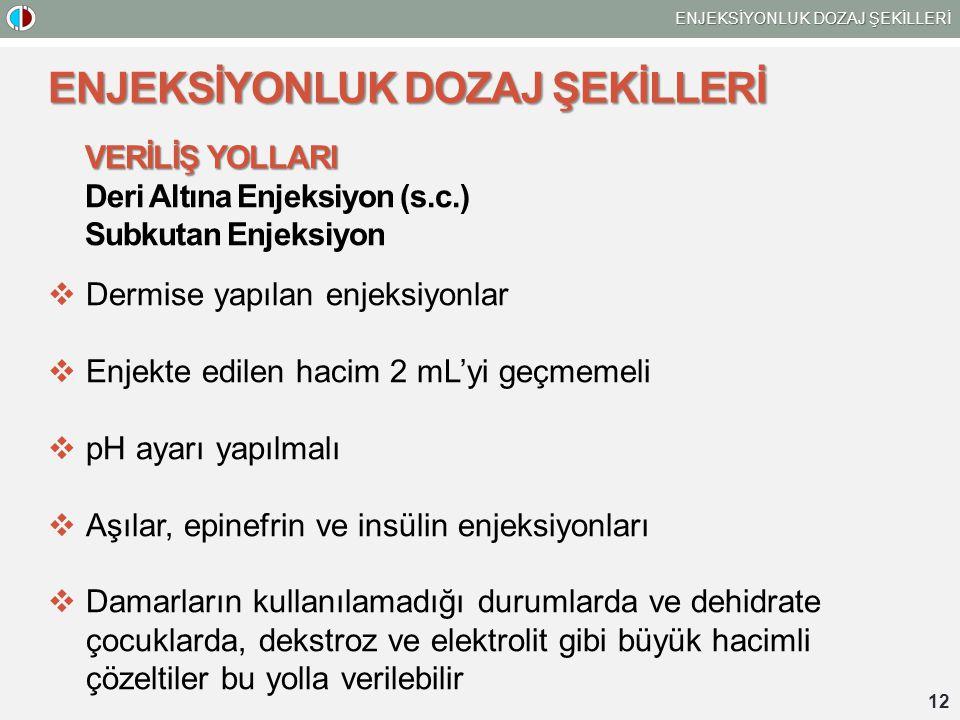 ENJEKSİYONLUK DOZAJ ŞEKİLLERİ 12 ENJEKSİYONLUK DOZAJ ŞEKİLLERİ VERİLİŞ YOLLARI Deri Altına Enjeksiyon (s.c.) Subkutan Enjeksiyon  Dermise yapılan enj