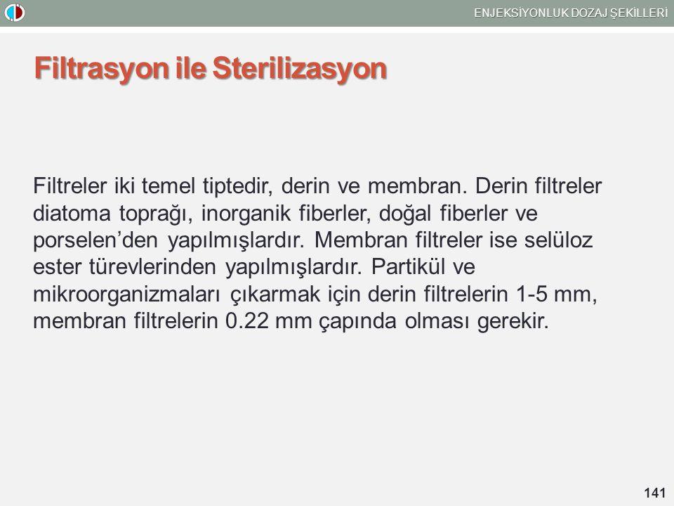 Filtrasyon ile Sterilizasyon Filtreler iki temel tiptedir, derin ve membran. Derin filtreler diatoma toprağı, inorganik fiberler, doğal fiberler ve po