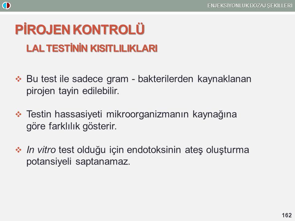 LAL TESTİNİN KISITLILIKLARI  Bu test ile sadece gram - bakterilerden kaynaklanan pirojen tayin edilebilir.  Testin hassasiyeti mikroorganizmanın kay