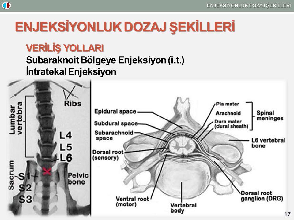 ENJEKSİYONLUK DOZAJ ŞEKİLLERİ 17 ENJEKSİYONLUK DOZAJ ŞEKİLLERİ VERİLİŞ YOLLARI Subaraknoit Bölgeye Enjeksiyon (i.t.) İntratekal Enjeksiyon