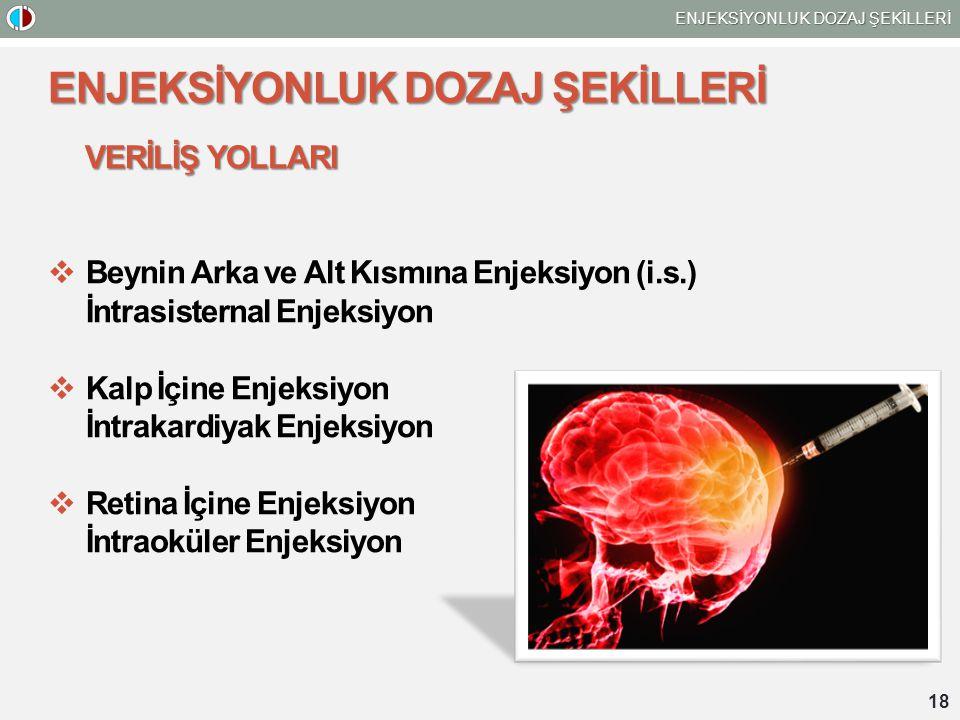 ENJEKSİYONLUK DOZAJ ŞEKİLLERİ VERİLİŞ YOLLARI  Beynin Arka ve Alt Kısmına Enjeksiyon (i.s.) İntrasisternal Enjeksiyon  Kalp İçine Enjeksiyon İntraka