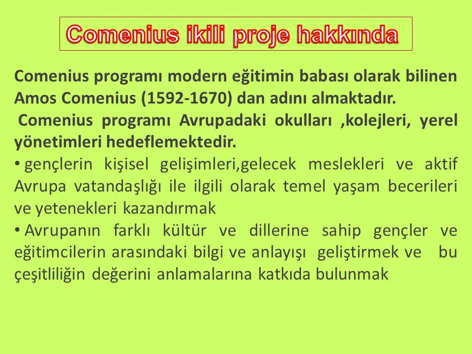 Comenius programı modern eğitimin babası olarak bilinen Amos Comenius (1592-1670) dan adını almaktadır.