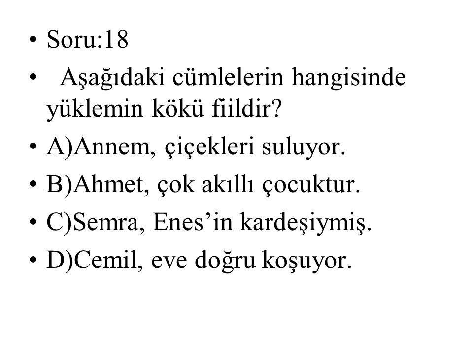 Soru:18 Aşağıdaki cümlelerin hangisinde yüklemin kökü fiildir? A)Annem, çiçekleri suluyor. B)Ahmet, çok akıllı çocuktur. C)Semra, Enes'in kardeşiymiş.