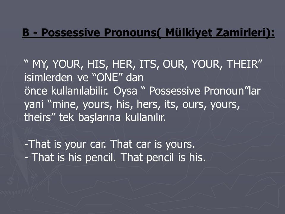 C-Demonstrative Pronouns(=işaret Zamirleri): This, that, these, those, isimlerle birlikte kullanıldığında belirtme sıfat ları oldukları halde, isim olmaksızın kullanıldığında işaret zamirleri dir.