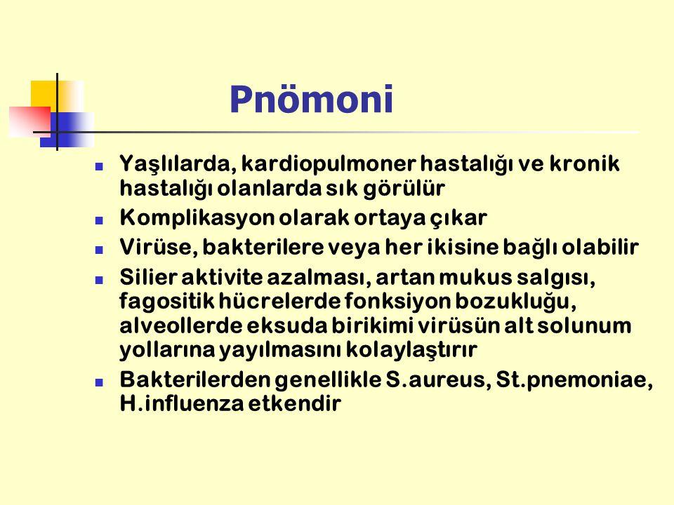 Pnömoni Ya ş lılarda, kardiopulmoner hastalı ğ ı ve kronik hastalı ğ ı olanlarda sık görülür Komplikasyon olarak ortaya çıkar Virüse, bakterilere veya