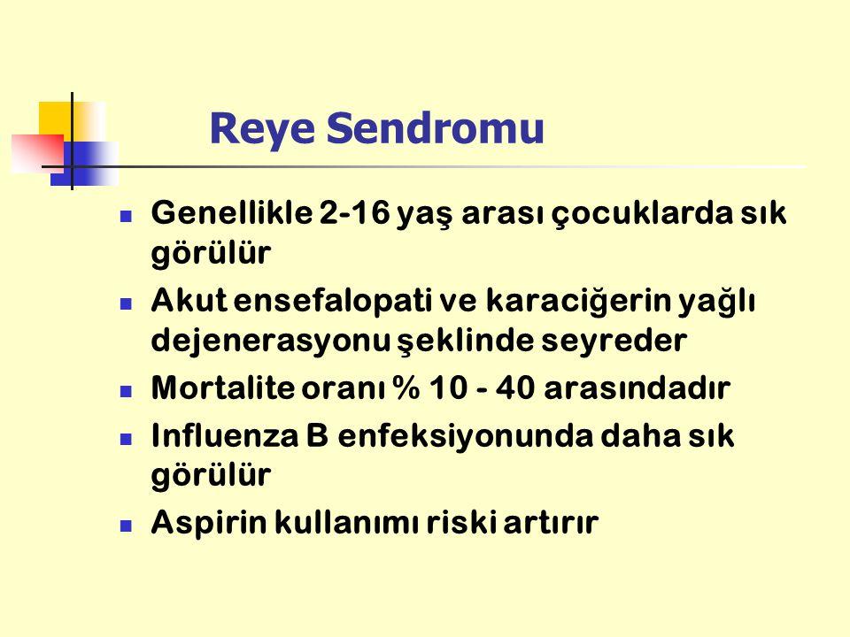 Reye Sendromu Genellikle 2-16 ya ş arası çocuklarda sık görülür Akut ensefalopati ve karaci ğ erin ya ğ lı dejenerasyonu ş eklinde seyreder Mortalite