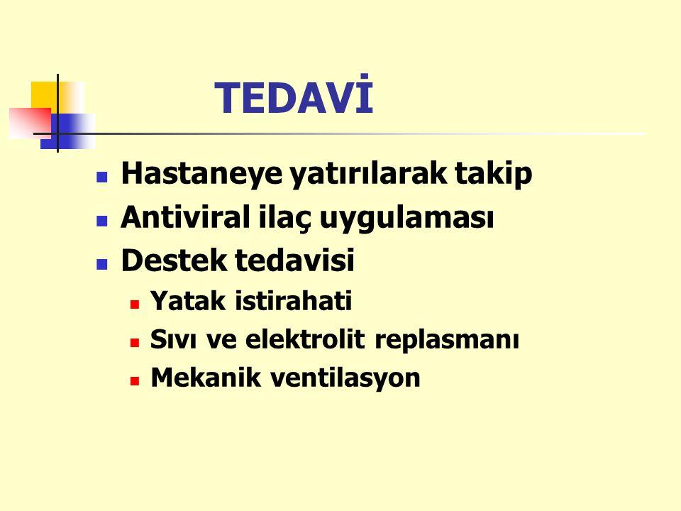 TEDAVİ Hastaneye yatırılarak takip Antiviral ilaç uygulaması Destek tedavisi Yatak istirahati Sıvı ve elektrolit replasmanı Mekanik ventilasyon
