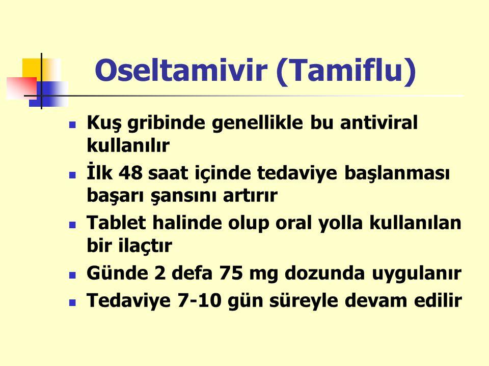 Oseltamivir (Tamiflu) Kuş gribinde genellikle bu antiviral kullanılır İlk 48 saat içinde tedaviye başlanması başarı şansını artırır Tablet halinde olu