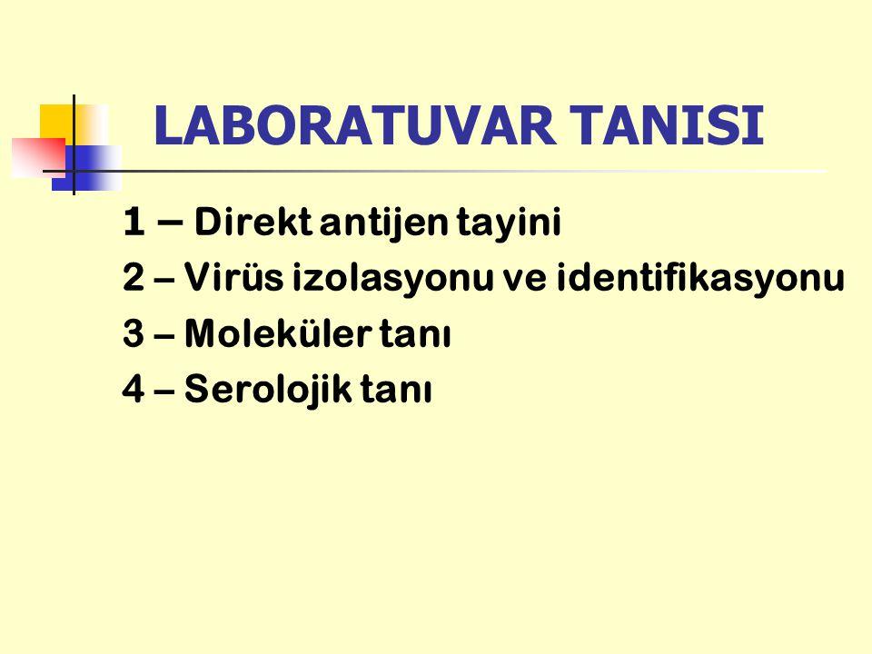 LABORATUVAR TANISI 1 – Direkt antijen tayini 2 – Virüs izolasyonu ve identifikasyonu 3 – Moleküler tanı 4 – Serolojik tanı