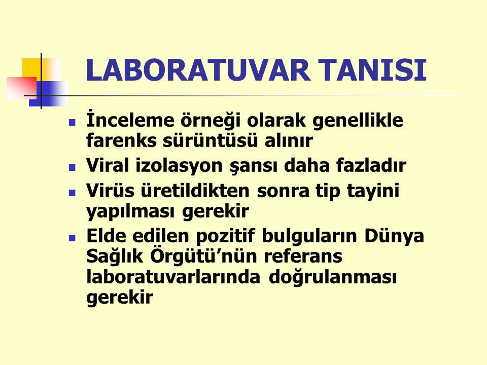 LABORATUVAR TANISI İnceleme örneği olarak genellikle farenks sürüntüsü alınır Viral izolasyon şansı daha fazladır Virüs üretildikten sonra tip tayini