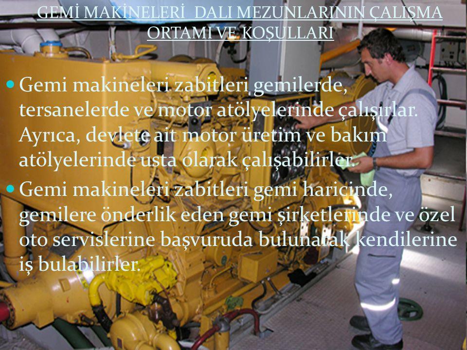 GEMİ MAKİNELERİ DALI MEZUNLARININ ÇALIŞMA ORTAMI VE KOŞULLARI Gemi makineleri zabitleri gemilerde, tersanelerde ve motor atölyelerinde çalışırlar. Ayr