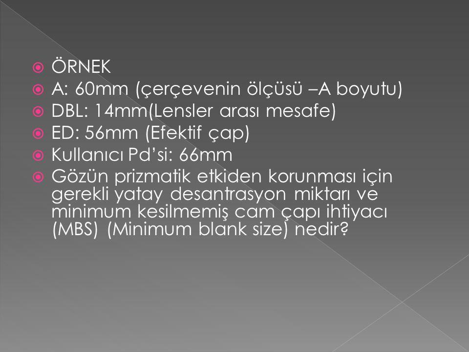  ÖRNEK  A: 60mm (çerçevenin ölçüsü –A boyutu)  DBL: 14mm(Lensler arası mesafe)  ED: 56mm (Efektif çap)  Kullanıcı Pd'si: 66mm  Gözün prizmatik e