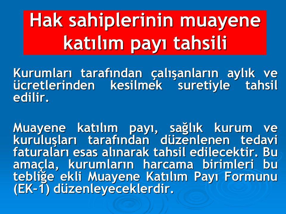Hak sahiplerinin muayene katılım payı tahsili Kurumları tarafından çalışanların aylık ve ücretlerinden kesilmek suretiyle tahsil edilir. Muayene katıl