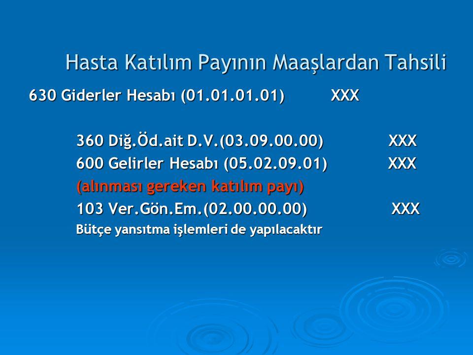 Hasta Katılım Payının Maaşlardan Tahsili 630 Giderler Hesabı (01.01.01.01) XXX 360 Diğ.Öd.ait D.V.(03.09.00.00) XXX 600 Gelirler Hesabı (05.02.09.01)