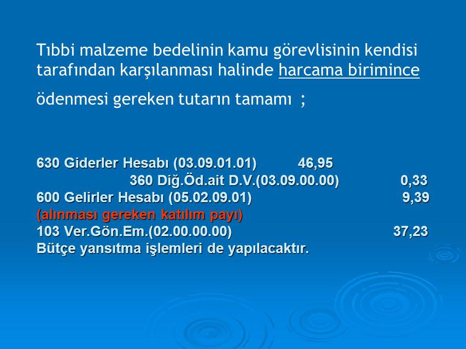 630 Giderler Hesabı (03.09.01.01) 46,95 360 Diğ.Öd.ait D.V.(03.09.00.00) 0,33 600 Gelirler Hesabı (05.02.09.01) 9,39 (alınması gereken katılım payı) 1