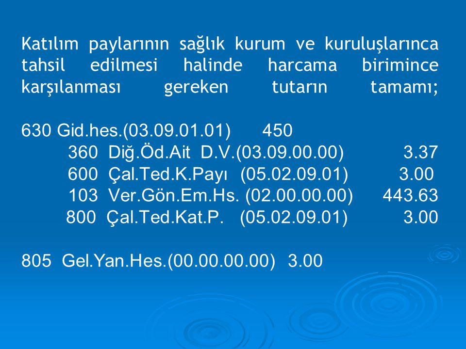 Katılım paylarının sağlık kurum ve kuruluşlarınca tahsil edilmesi halinde harcama birimince karşılanması gereken tutarın tamamı; 630 Gid.hes.(03.09.01