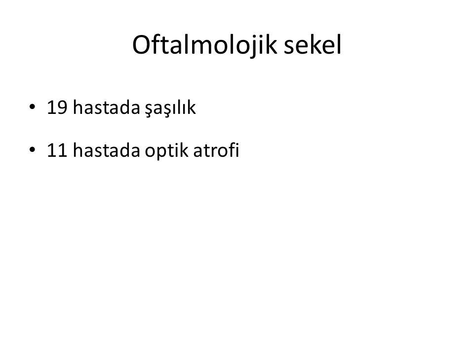 Oftalmolojik sekel 19 hastada şaşılık 11 hastada optik atrofi