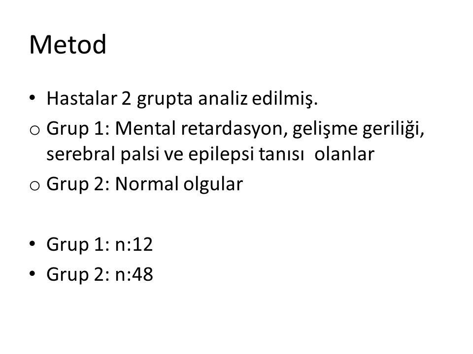 Metod Hastalar 2 grupta analiz edilmiş. o Grup 1: Mental retardasyon, gelişme geriliği, serebral palsi ve epilepsi tanısı olanlar o Grup 2: Normal olg