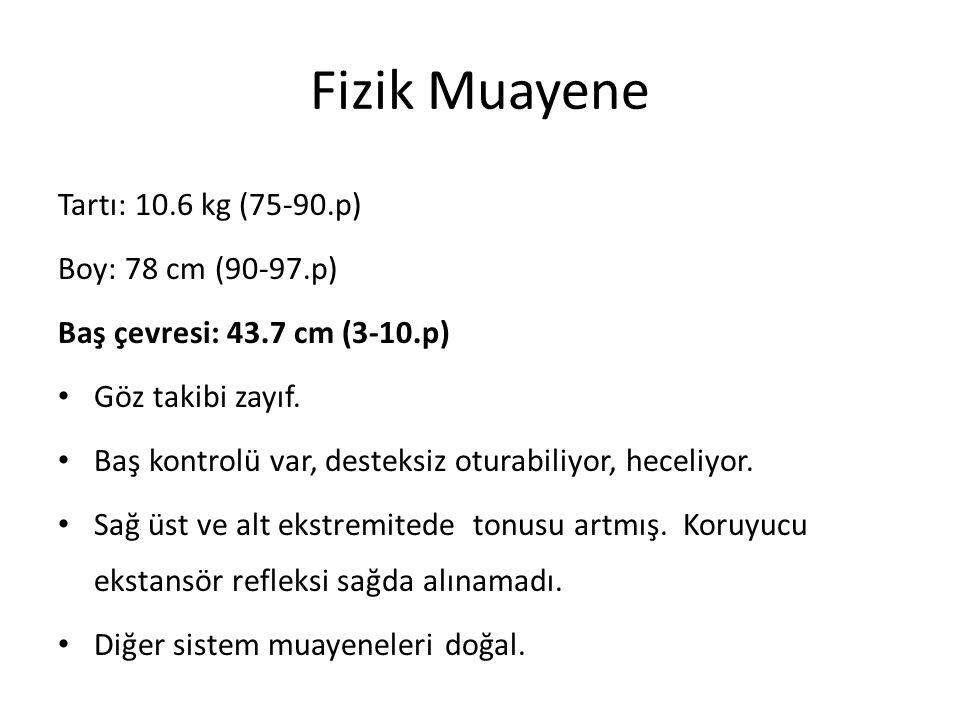 Fizik Muayene Tartı: 10.6 kg (75-90.p) Boy: 78 cm (90-97.p) Baş çevresi: 43.7 cm (3-10.p) Göz takibi zayıf.