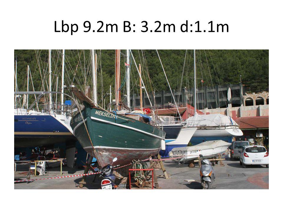 Lbp 9.2m B: 3.2m d:1.1m