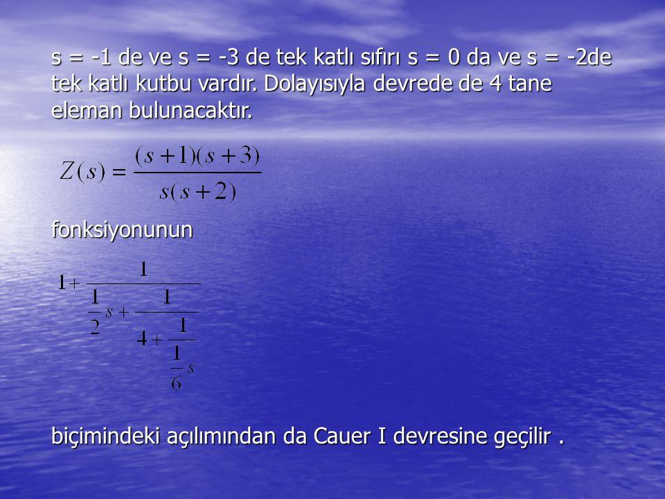 s = -1 de ve s = -3 de tek katlı sıfırı s = 0 da ve s = -2de tek katlı kutbu vardır. Dolayısıyla devrede de 4 tane eleman bulunacaktır. fonksiyonunun