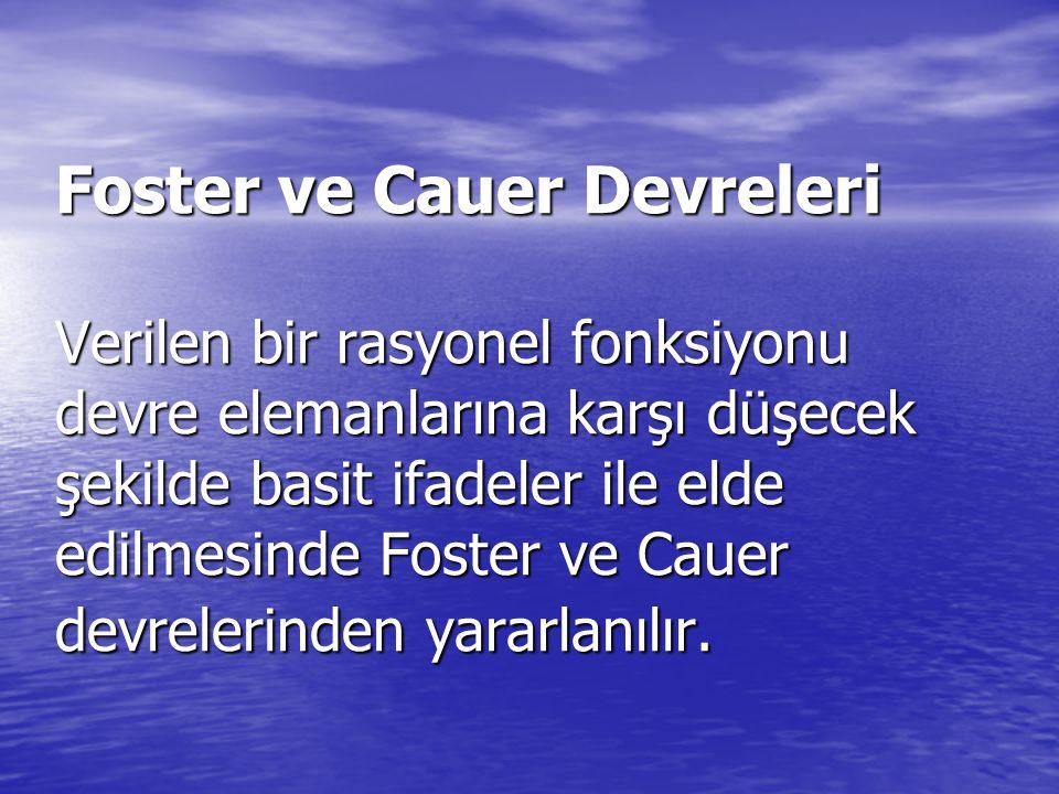 Foster ve Cauer Devreleri Verilen bir rasyonel fonksiyonu devre elemanlarına karşı düşecek şekilde basit ifadeler ile elde edilmesinde Foster ve Cauer