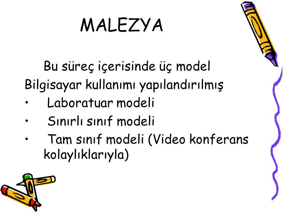 MALEZYA Bu süreç içerisinde üç model Bilgisayar kullanımı yapılandırılmış Laboratuar modeli Sınırlı sınıf modeli Tam sınıf modeli (Video konferans kolaylıklarıyla)