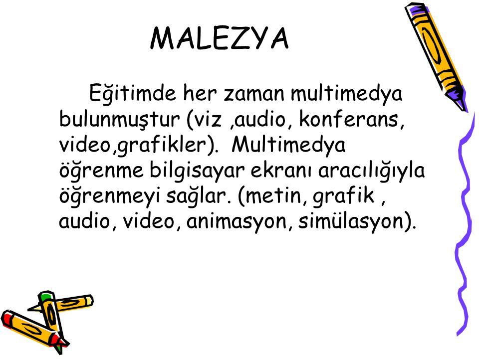 MALEZYA Eğitimde her zaman multimedya bulunmuştur (viz,audio, konferans, video,grafikler). Multimedya öğrenme bilgisayar ekranı aracılığıyla öğrenmeyi