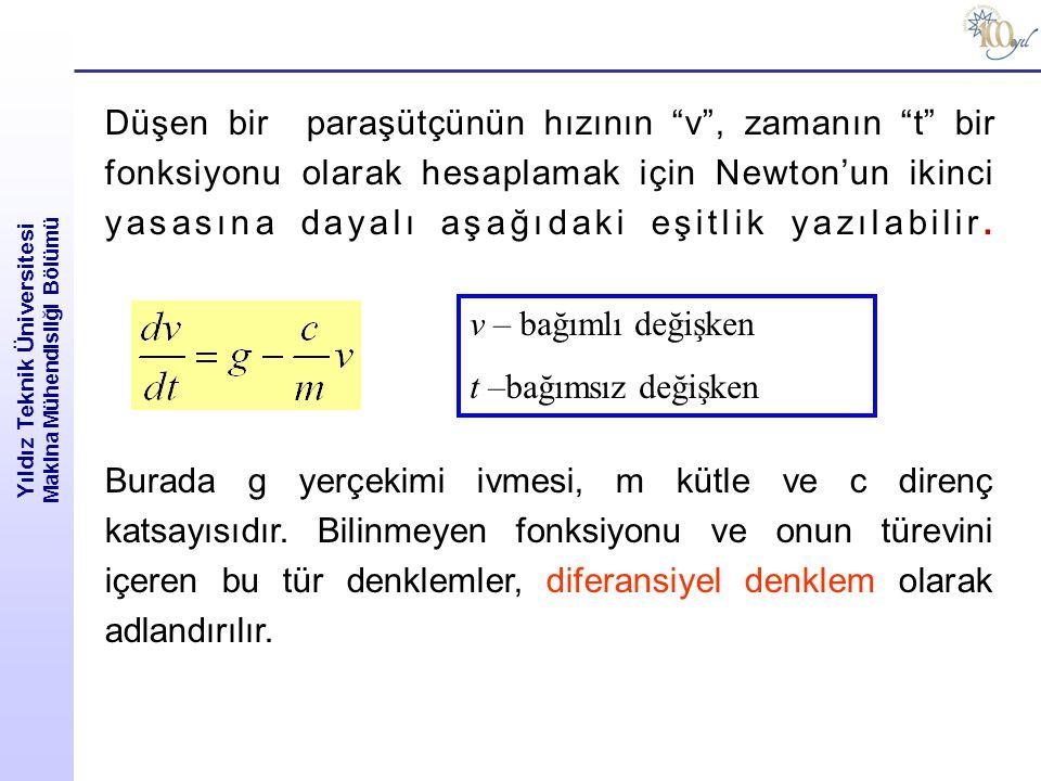 """Yıldız Teknik Üniversitesi Makina Mühendisliği Bölümü Düşen bir paraşütçünün hızının """"v"""", zamanın """"t"""" bir fonksiyonu olarak hesaplamak için Newton'un"""