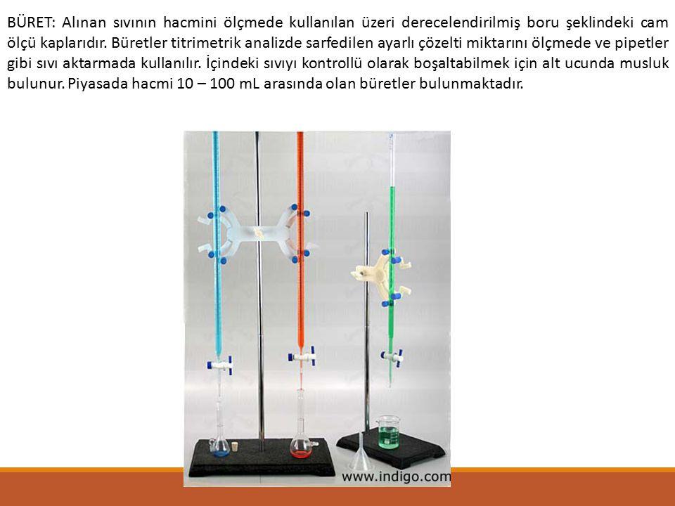 BÜRET: Alınan sıvının hacmini ölçmede kullanılan üzeri derecelendirilmiş boru şeklindeki cam ölçü kaplarıdır. Büretler titrimetrik analizde sarfedilen