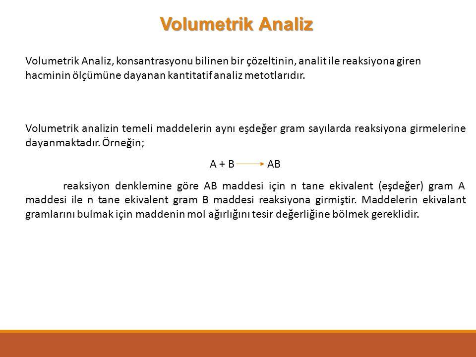 Volumetrik Analiz Volumetrik Analiz, konsantrasyonu bilinen bir çözeltinin, analit ile reaksiyona giren hacminin ölçümüne dayanan kantitatif analiz me