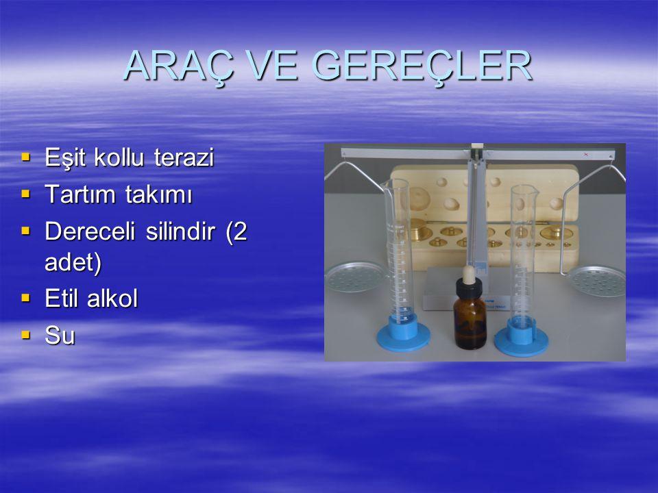 ARAÇ VE GEREÇLER  Eşit kollu terazi  Tartım takımı  Dereceli silindir (2 adet)  Etil alkol  Su