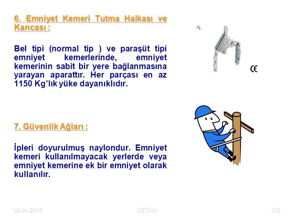 09.04.2015DETAM102 6. Emniyet Kemeri Tutma Halkası ve Kancası : Bel tipi (normal tip ) ve paraşüt tipi emniyet kemerlerinde, emniyet kemerinin sabit b